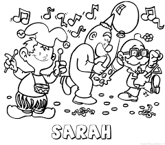 Sarah Carnaval Naam Kleurplaat