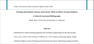 Teaching Information Literacy And Library Skills To Online Nursing