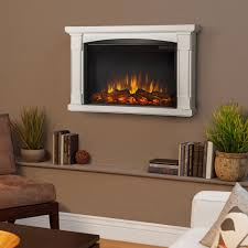 real flame brighton 34 inch slimline wall mount electric fireplace shown mounted in room