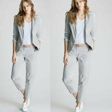 Womens Light Gray Pant Suit Details About Light Gray Female Elegant Pant Suits Ol Formal Work Wear Womens Trousers Office