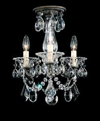 la scala 3 light 110v chandelier in antique silver with clear heritage crystal