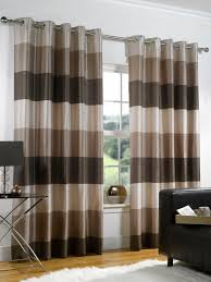Horizontal Striped Curtains Brown
