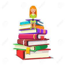 colorful flat style cartoon vector ilration little sitting on a pile of big books and reading opened tome smart kid