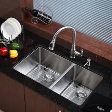 discontinued kraus 33 inch undermount 60 40 double bowl 16 gauge stainless steel kitchen