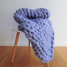 giant chunky knit blanket throw in lilac small australian merino wool