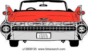 Clipart Of Illustration Lineart Classic Car Auto Automobile