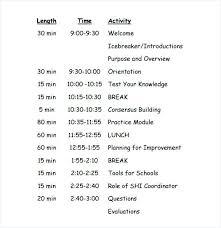 Training Agenda Template Sample Microsoft Word Weekly