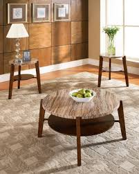 image of round rustic coffee table marble top