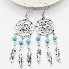 Dream Catcher Earing Bohemian style dream catcher earrings Shakti Supply 97