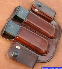 Dual Magazine Holder Best Brigade Holsters Leather M32C IWB Mag Pouch