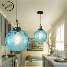 Blue Glass Pendant Light Fixture Us 46 16 30 Off Loft Modern Blue Color Glass Pendant Light Led E27 Vintage Nordic Hanging Lamp With 3 Size For Bedroom Lobby Restaurant Office In