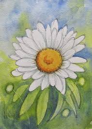 watercolor daisy in class today
