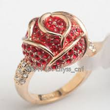 Details About B1 R559 Love Red Red Rose Flower Ring 18kgp Women Girl Rhinestone Size 5 5 9