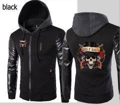 new anime peripheral and rose hoo hooded leather sleeve jacket men s sports jacket hooded slim hoo