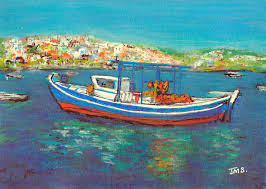 a painting a week no 126 fishing boat koroni harbour
