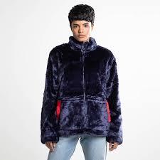 fila black line arianna high neck fur jacket womens