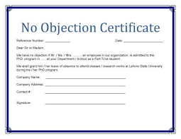 No Objection Certificate Templates Property Study