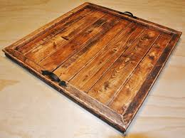 large wood serving tray ottoman