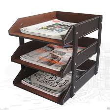 desk office file document paper. 3 Layers Leather Desk A4 Document File-Tray Rack File Shelf Frame Paper Organizer Brown Office A