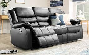 soro black leather 3 seater