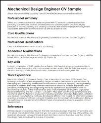 Professional Engineer Resume Samples Mechanical Design Engineer Cv Sample Myperfectcv