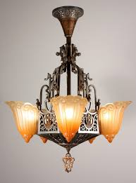 antique five light art deco slip shade chandelier lincoln art deco chandelier