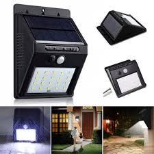 20 leds solar power pir motion sensor wall light outdoor garden waterproof lamp