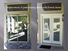 removing patio sliding door and installing french doors with mini blinds the mini blinds are between two glass no need to ever clean the blinds