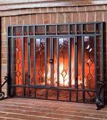 beveled clear glass fireplace screens