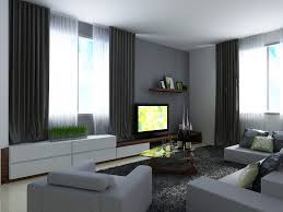 modern decoration gray living room walls with black curtain and soft grey sofa on fur rug complete white cabinet tv stand triangle glass coffee table unit