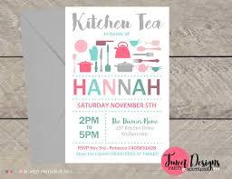 Tea Invitations Printable Utensil Kitchen Tea Invitation Bridal Shower Kitchen Invitation