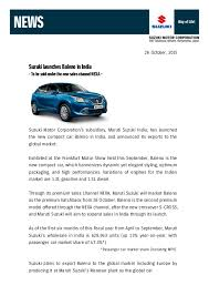 new car press releaseMaruti baleno launch press release