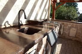 outdoor concrete undermount sink with fiberoptics