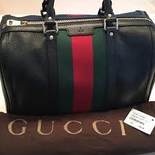 gucci vintage web leather boston bag never used black leather gold hardware canvas interior removable adjustable should strap green red brand stripe