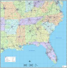 southeast us wall map magnified image