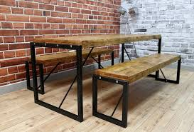 Gerrit Industrial Style Rustic Pine Iron Dining Table  Kathy Kuo HomeIndustrial Look Dining Table