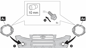 how to add foglights using oem wiring on the rav4 3 toyota rav4 add the fog lights by sliding the tabs in the inner side and screwing them in at the outer side as shown mine had no pre drilled holes but the screws
