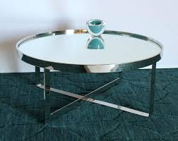 round chrome coffee table mirrored modern in shape with legs uk