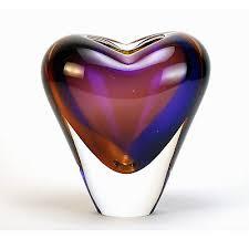 details about vases murano glass heart vase 7 h topaz amethyst italian art glass