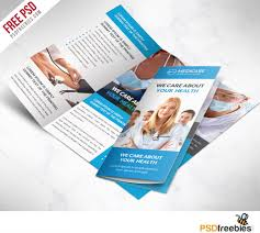 Medical Brochures Templates Medical care and Hospital Trifold Brochure Template Free PSD 1