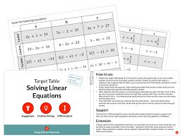 solving linear equations target table
