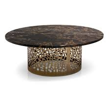 italian laser cut bronzed metal round marble coffee table