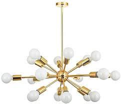 generic mid century brass sputnik chandelier 18 arms modern pendant lamp ceiling light no bulb