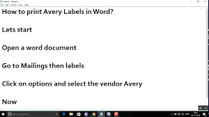 How To Print Avery 5160 Labels In Word How To Print Avery Mailing Labels In Word Youtube