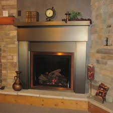 ina premier steel mantel surrounds stainless steel trim for fireplace
