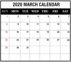 Printable Attendance Calendar 2020 Editable March 2020 Calendar To Print Pdf Word Blank