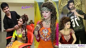 ideas of kashees makeup and hairstyle pictures for brides 20