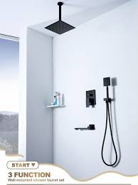 Großhandel Bad Dusche Wasserhahn 3 Funktionen Schwarz Heiß Kalt Dusche Wasserhähne Set 10 Regendusche Handheld Spary Mischbatterie Von Happinessmrs