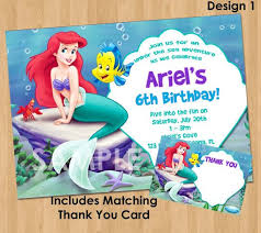 Little Mermaid Invitation Thank You Note Printable Princess