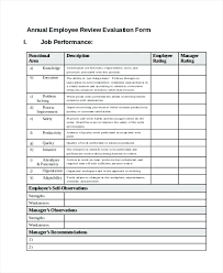 Employee Evaluation Sheet Template
